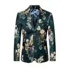 2019 Moda Mens Impresso Blazers Casual Slim Fit Vestido de Baile Homens Blazer Floral Verde Estágio Wear Blazers Paletó para Os Homens #821 - 1
