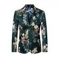 2019 Moda Mens Impresso Blazers Casual Slim Fit Vestido de Baile Homens Blazer Floral Verde Estágio Wear Blazers Paletó para Os Homens #821