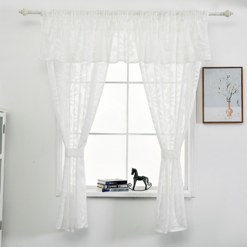 Short curtain kitchen window faux linen jacquard fabrics semi sheer ...