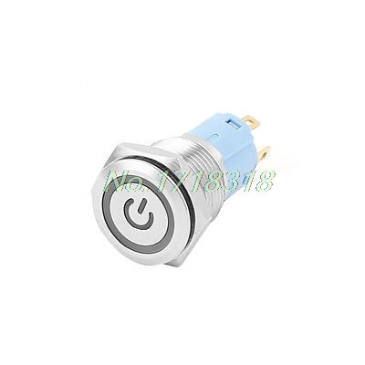 12V 16mm Dia Thread Blue LED Lamp Latching Metal Pushbutton Power Switch