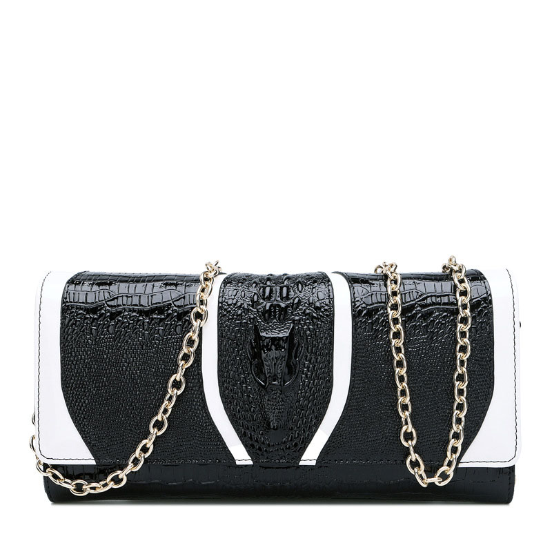 New fashion crocodile pattern chain handbag Cross-section square leather shoulder bag Ms. leather zipper clutch 2016 fashion spring and summer crocodile pattern japanned leather patent leather handbag one shoulder cross body bag for women
