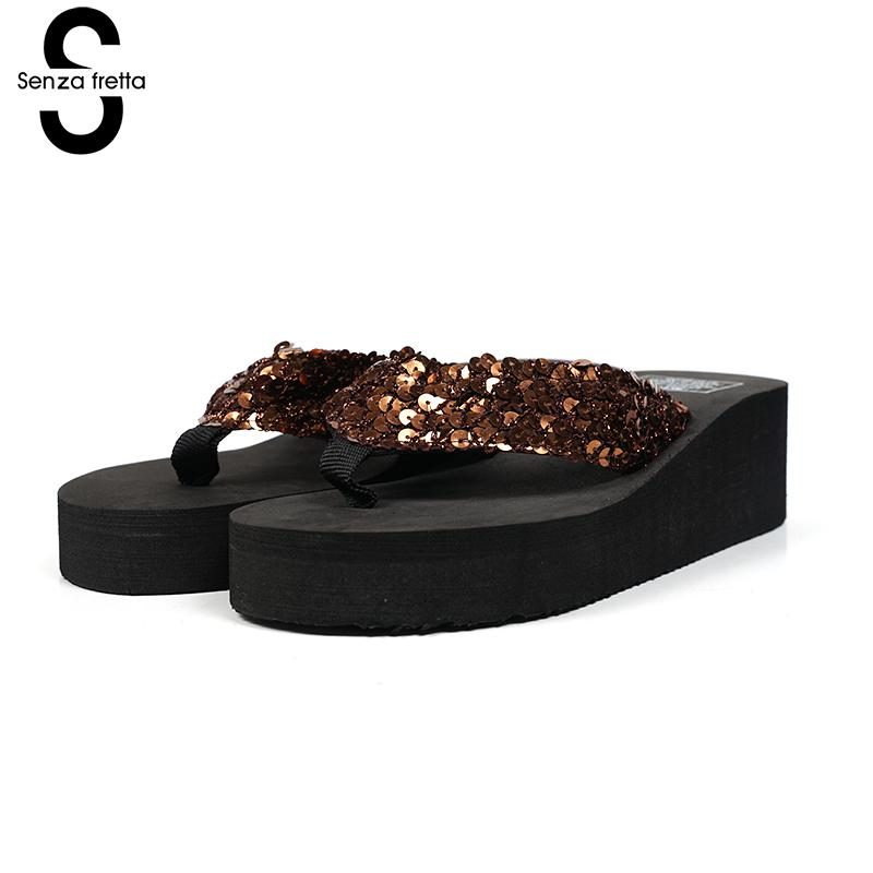 Senza Fretta Summer Women Shoes Flip Flops Sequins Sandals Beach Flip Flops Sandals Flip Flops Lady Wedges Sandals Shoes Women trendy women s sandals with flip flops and strap design