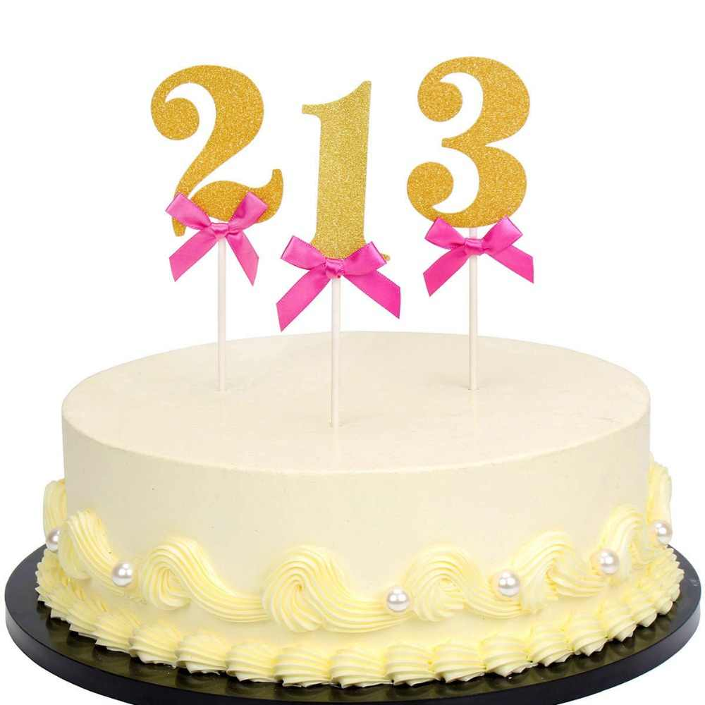 Lincaier 6pcs Number 1 2 3 4 5 6 7 8 9 Cupcak Topper Birthday Party
