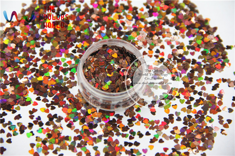 TCA406 Laser Coffee  Color Heart Shape 3MM Size Glitter Specular luster glitter for nail,tatto,Art decoration and others