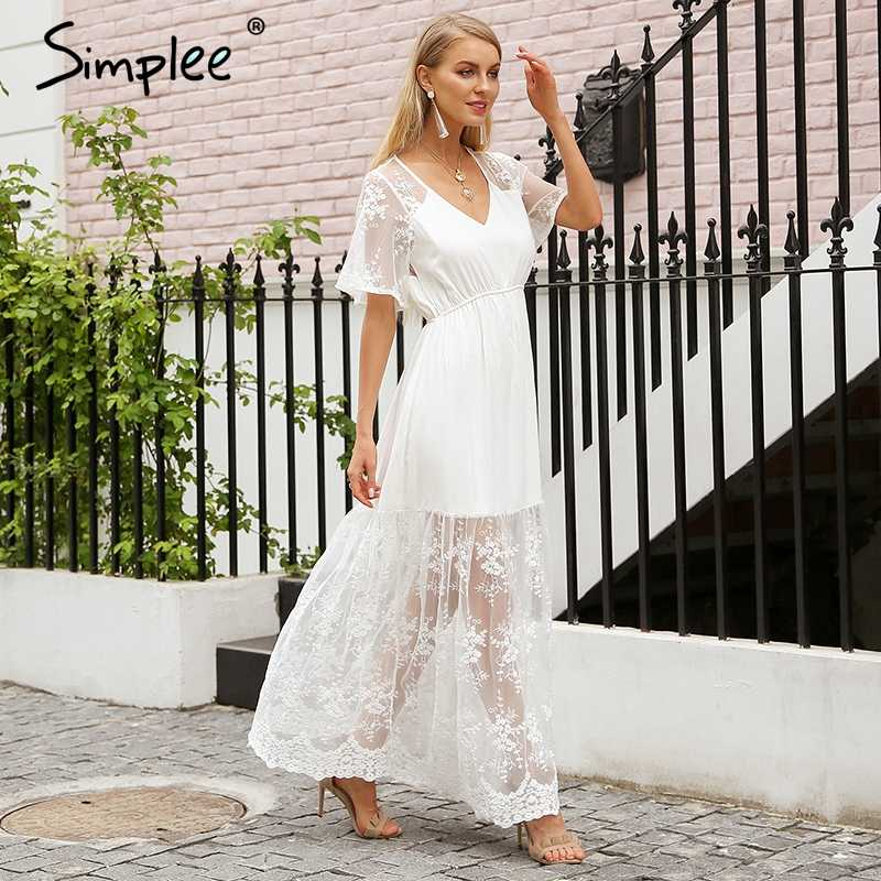 Simplee élégant col en v robe d'été femmes Transparent broderie dentelle robe longue Streetwear blanc robe décontracté vestidos 2018
