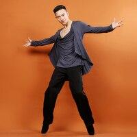 Men'S Latin Dance Tops Black Gray Professional Ballroom Dance Shirt Latino Clothes For Cha Cha Rumba Cowboy Dancing Wear DQ7009