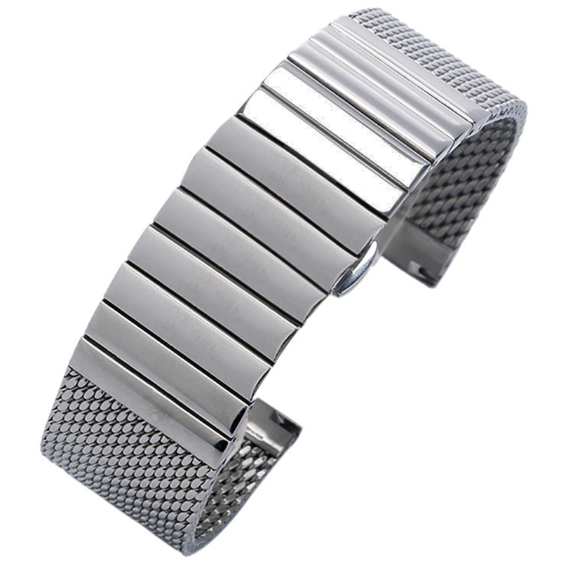 Image 2 - 18/20/22/24 mm Wristband Luxury Stainless Steel Strap Polished Silver Milanese Shark Mesh Milanese Band for Men Women Wristwatchmilanese bandshark meshstainless steel strap -