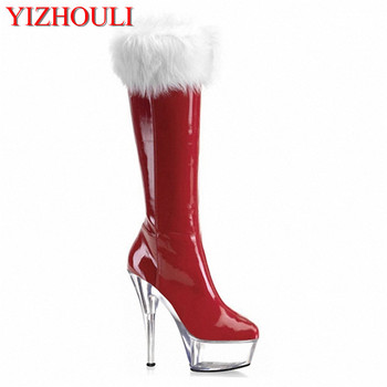 Christmas red straight boots, son Santa hair high boots, 15cm foreign trade high heels and knee ladies Dance Shoes