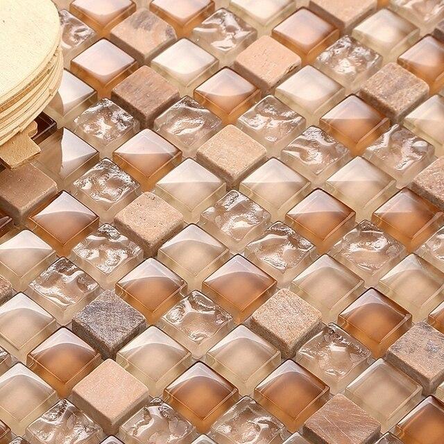 Kristallglas Mosaik Gemischte Stein Mm Platz Küche Backsplash - Fliesen hellbraun