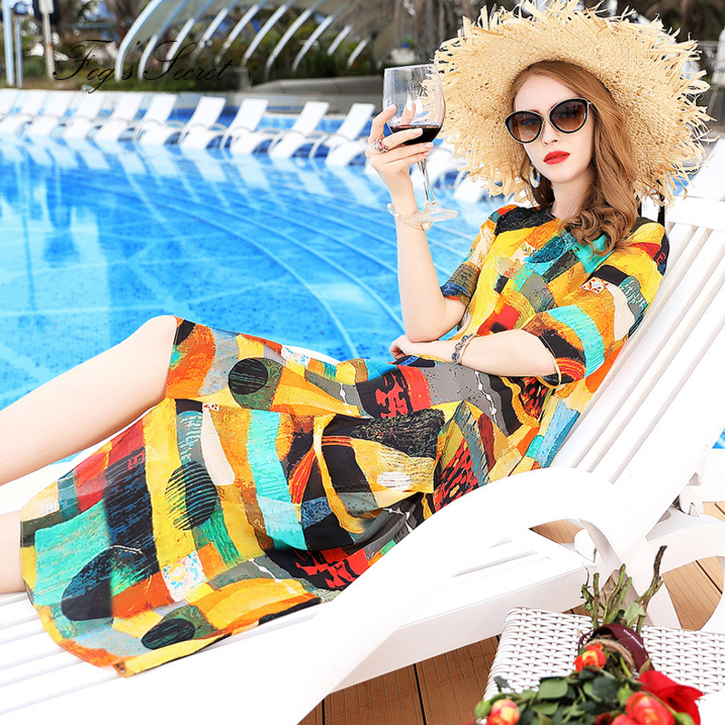 Colorée Casuais Conduites Irrégulière Lâche Imprimer Soie 2019 Carburant Peinture Femme Robe Pour Art D'été De Robes Automne wxSWqF8