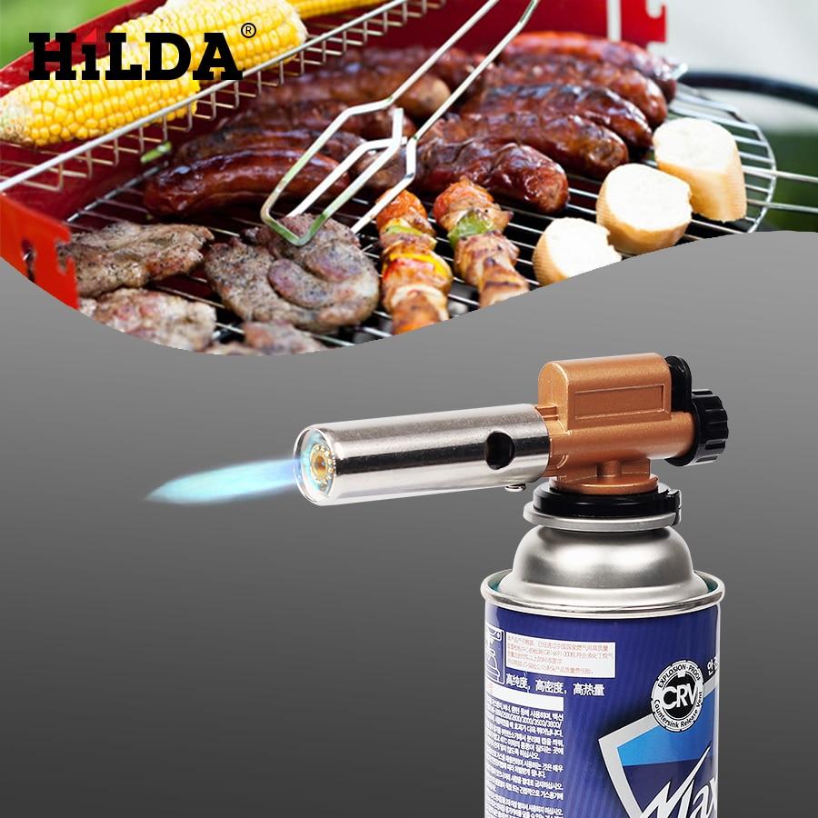 HILDA Elektronische Zündung Taschenlampe für Camping BBQ Picknick Kochen Schweißen Kupfer Flamme Butangas Brenner Gun Maker Fackel Leichter