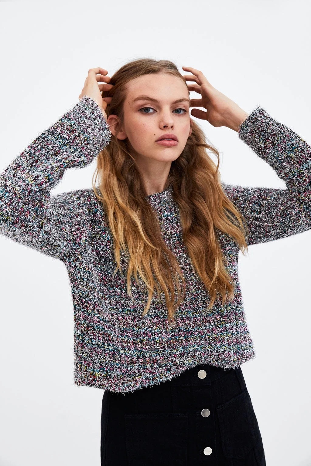 Women popular new D0920U17 autumn new Europe and the United States with gold thread wavy edge sweater # 1084