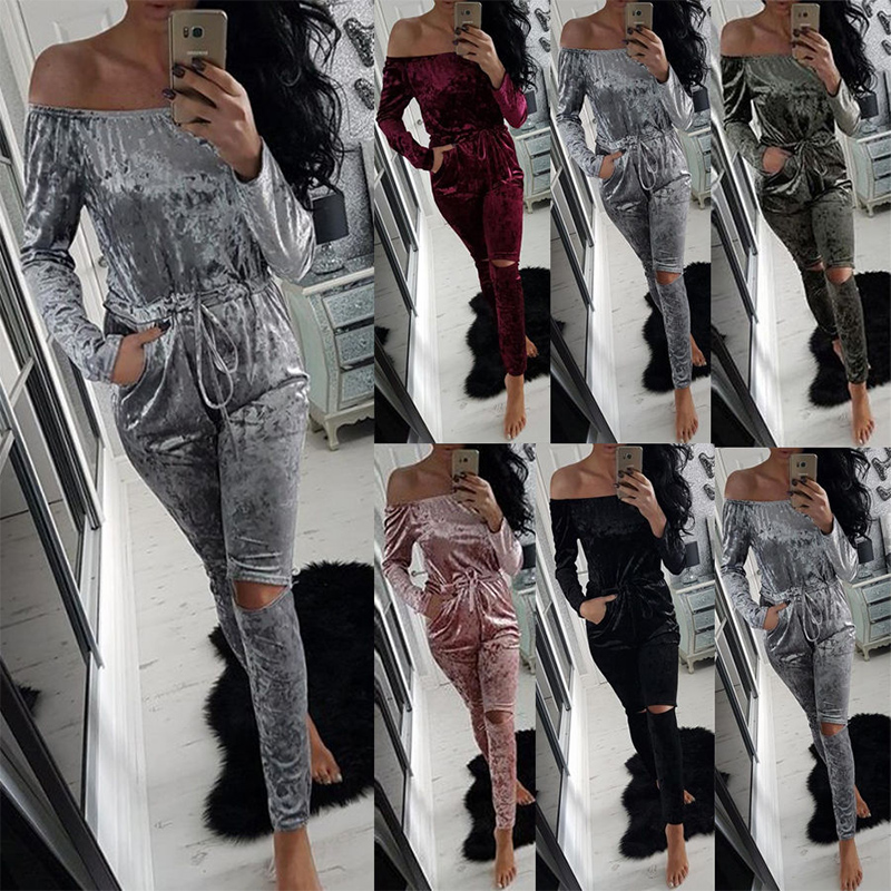 KAYWIDE 2017 Women Winter Romper Series Fashion Sexy Playsuits Autumn Bodysuits Velour Hollow Out Jumpsuits For