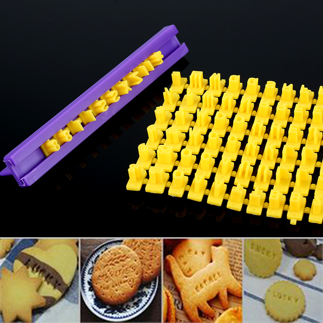 New Alphabet Cookie Mold Cutters Number Letter Impress Set Cookie Biscuit Stamp Embosser Cutter Cake Fondant DIY Molds