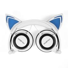 Plegable Intermitente Brillante gato oreja fone de ouvido auriculares para Juegos de Auriculares con luz LED Para PC de la computadora Del Teléfono Móvil
