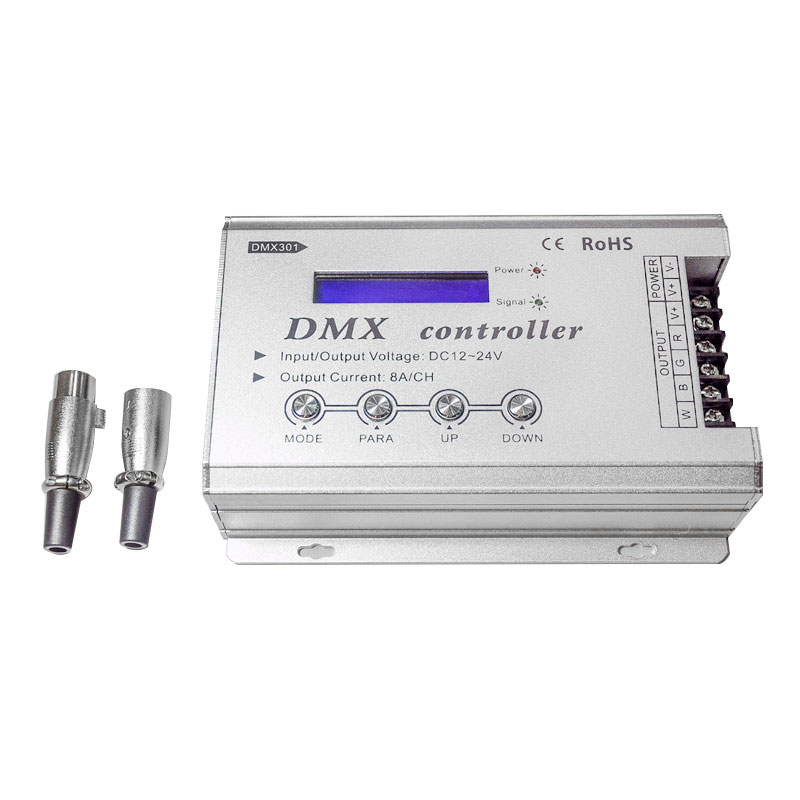 DMX301 Low-voltage DC12-24V LED DMX controller with LCD digital display 8A/channel 3 channels for rgb led strip light bulb lamps