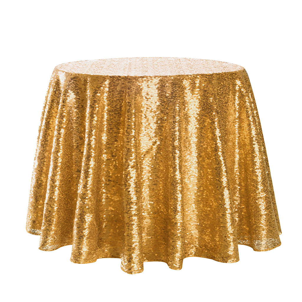 2019 hot new products Sparkle Round Sequin Tablecloth Table Cover Wedding Party Banquet Gold accessories family Home