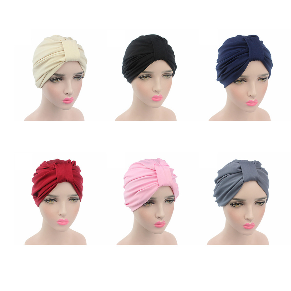 Hot Bandanas Muslim Headscarves Women's Modal Hair Warp Chemo Pleated Pre Tied Head Cover Up Bonnet Turban India Cap Wholesale