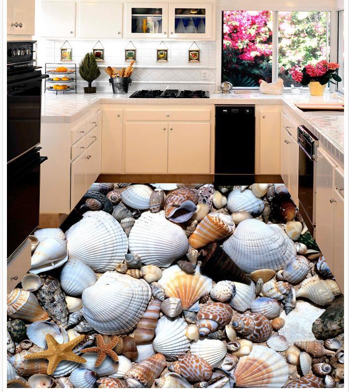 Custom Photo Floor 3D Wallpaper Modern Art Shells And Starfish Tiles Self-adhesive PVC