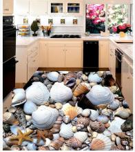 Custom Photo Floor 3D Wallpaper Modern Art Shells And Starfish Tiles Self-adhesive PVC
