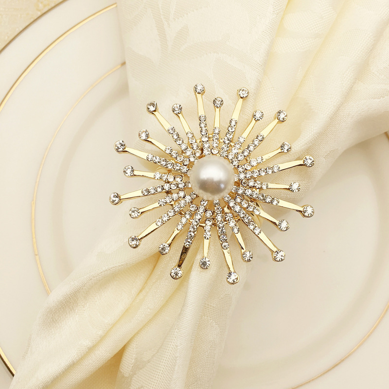 10pcs/lot Pearl Sun Flower Hotel Restaurant Napkin Buckle Model Room Napkin Ring Mouth Circle Diamond, Wedding Party Decorations