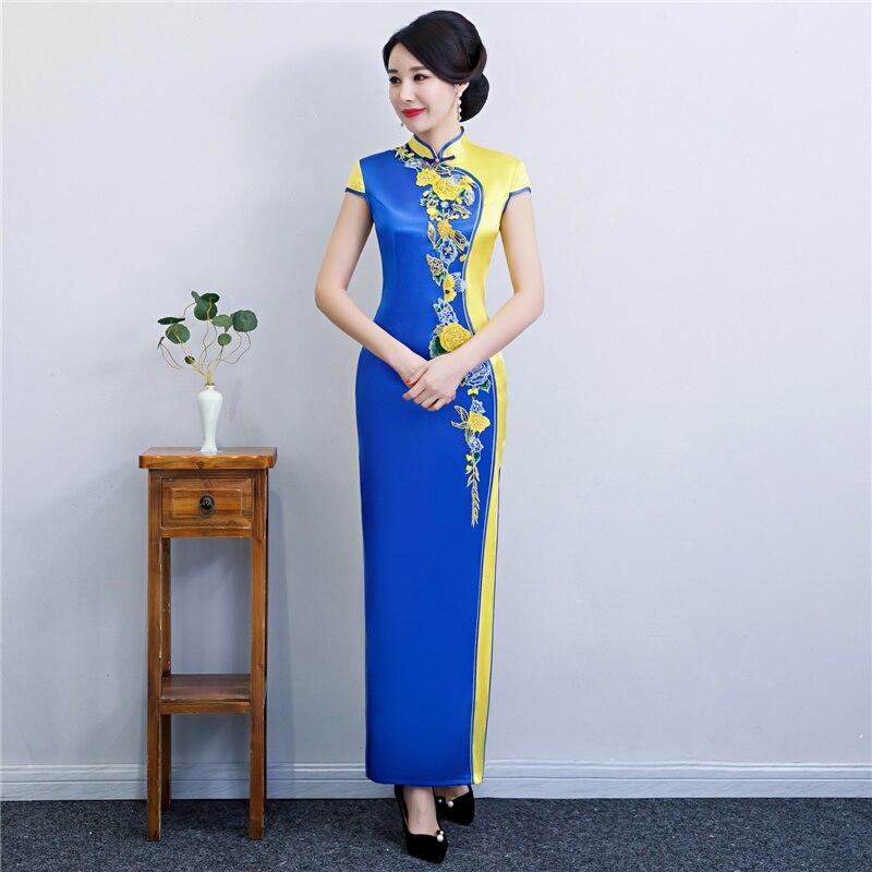 dee0503804a6 Pulsante Blue Qipao Cheongsam Vestito Modo Partito Stile Rayon 2019 green  Yellow Lungo Sottile Red Delle Da Di ...