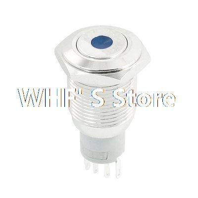 Blue Indicator Dot LED SPDT Flat Head 16mm Momentary Stainless Steel Push Button Switch [vk] ub215skg036f 1jb switch push spdt 0 4va 28v switch