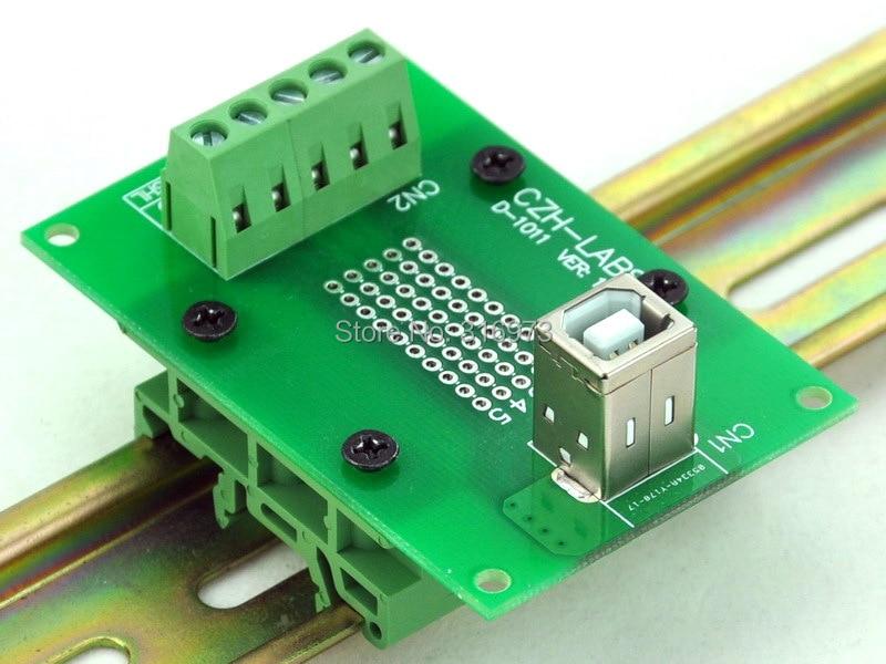 USB Type B Female Vertical Jack Breakout Board, W/Simple DIN Rail Mount Feet.