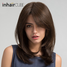 Inhair Cube Women Hair Wigs Ladies Party Daily Natural Wave Dark Brown Side Parting Synthetic Lace with Bangs Free Shipping