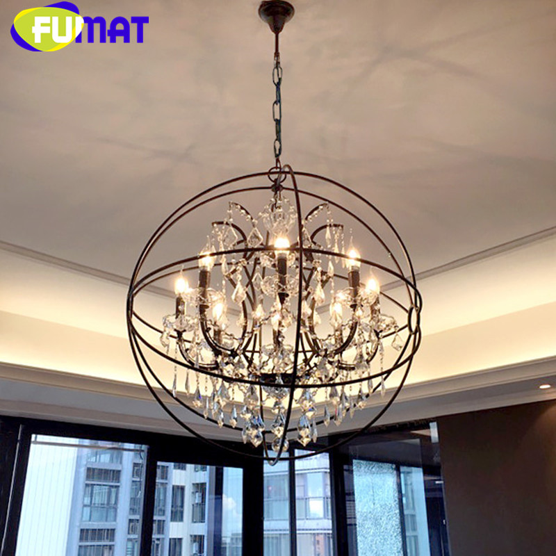 American Vintage Round Iron Crystal Lighting Fixtures Dinning Room Globe Pendant Lamp Loft Industrial Retro Bar Pendant Light 2pcs american loft style retro lampe vintage lamp industrial pendant lighting fixtures dinning room bombilla edison lamparas