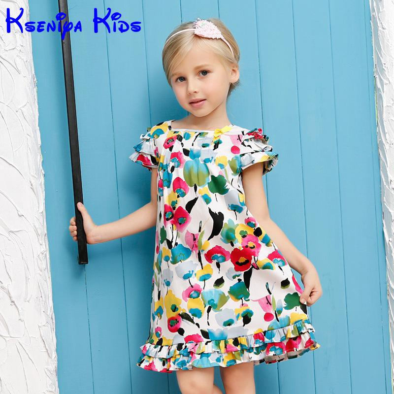 2016 Brand Casual Cotton Baby Girl Dress Flower Print Kids Party Dresses Princess Girls Clothing Summer 2 7 Years Zk0513