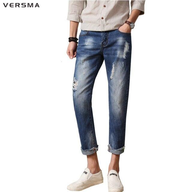 Versma Skateboard Denim Jeans Men Latest Design Jeans Pants Torn