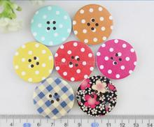 set of 50pcs big 30mm polka dots chequer floral kawaii cute Round wooden buttons 4 holes