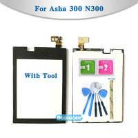 Alta calidad de 2,4 para Nokia Asha 300 N300 digitalizador de pantalla táctil Sensor exterior Lente de Cristal frontal de Panel negro