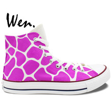 Wen Original Design Custom Hand Painted Shoes Giraffe Pattern Pink Purple High Top Women's Canvas Sneakers Gifts For Girls