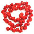 16 inches 8x10mm Red Rose Flower Carved Natural Coral Beads Loose Strand