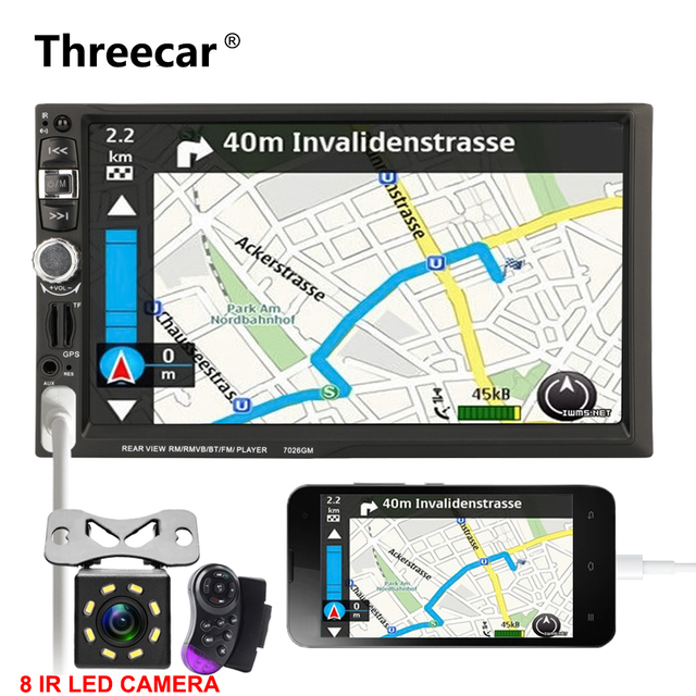 US $79 62 35% OFF|Double Din 7'' GPS Navigation car autoradio MirrorLink  Android HD Car Touch Screen Bluetooth USB MP5 Auto Car radio navigation-in