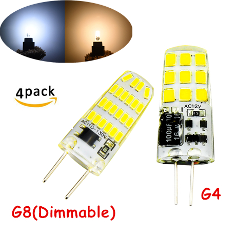 Dimmable G8 LED Bulb 3W 20W-30W Equivalent AC 110V 130V G4 AC DC 12V Under Counter Kitchen Lighting 4pcs Silicone Corn Bulb
