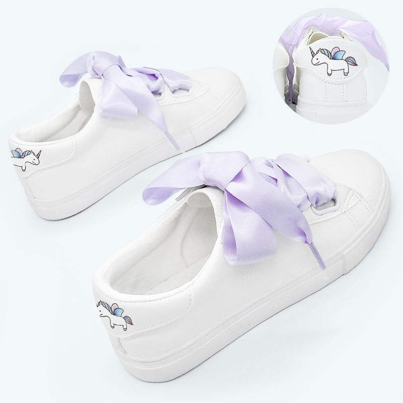 Ribbon Lace-up Women White Casual Flat Shoes Breathable Sneaker Shoes
