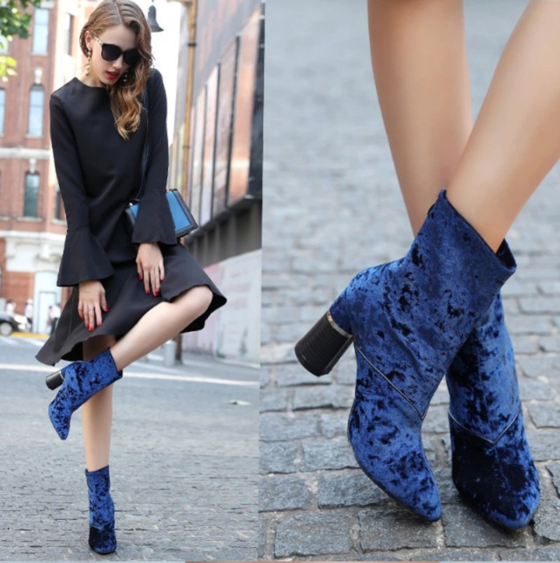 woman velvet boots mid-calf thick heel boots for women side zipper zapatos mujer blue Ankle Boots Chunky Thick High Heels Party double buckle cross straps mid calf boots