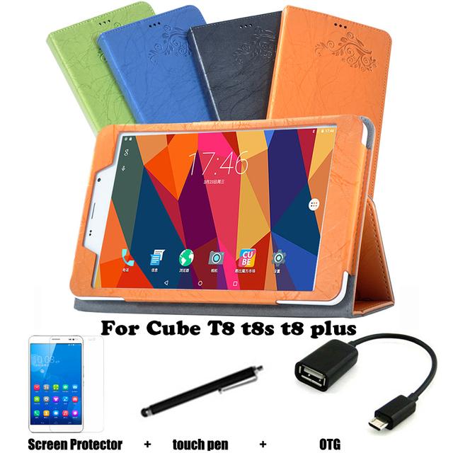 Funda protectora Shell / piel de la PU caja de cuero protectora para el cubo mágico T8 T8 T8 plus 8 '' latencia Tablet PC T8 caja