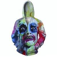 Newest Men S Beatle Juice Oil Painting Funny 3D Hoodies Zipper Outerwear S M L XL