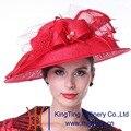 Kueeni Sombreros de Verano de la Señora Vestido de Novia Desgaste Floral Sombreros sombreros de Ala Velo Accesorios de Novia de Color Rojo Estampado de flores de Organza Romántico
