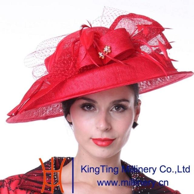 Kueeni Summer Hats Lady Wedding Dress Wear Fl Veil Red Color Bride Accessories Pattern