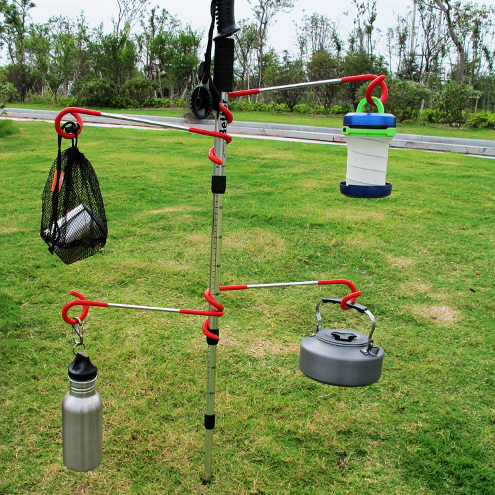 C0EA 2way Lantern Light Hanger Tent Aanti Slip Pole Post Hook Holder Camping