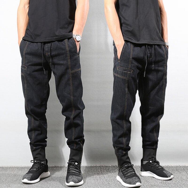 Japanese Style Fashion Men Jeans Vintage Designer Spliced Designer Joggers Jeans Men Streetwear Slack Bottom Hip Hop Jeans Pants