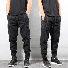 Japanese Style Fashion Men Jeans Vintage Designer Spliced Joggers Streetwear Slack Bottom Hip Hop Pants