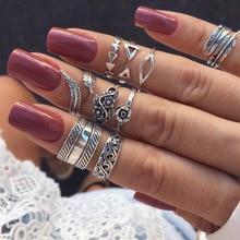 WLP 3-14 шт/набор Мода лист цветок треугольник из камней правильной геометрической формы комплекты колец на фалангу винтажные Кристальные кольца на костяшки для женщин панк кольца