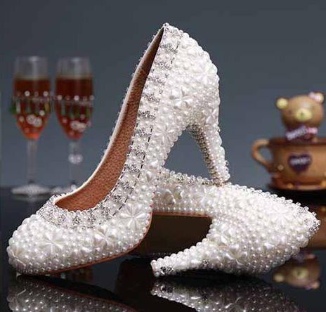 ФОТО 9cm White pearls wedding shoes womens TG356 luxury handmade rhinestones round toe heeled bridal shoes parties dress pumps shoe