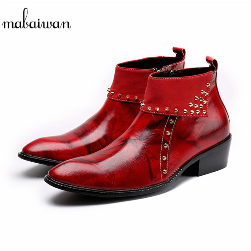 ca234fa7d60 Mabaiwan Red Leather Men Shoes Autumn Winter Ankle Boots Slipper Zipper  Pointed Toe Dress Shoes Men Rivet Military Cowboy Boots